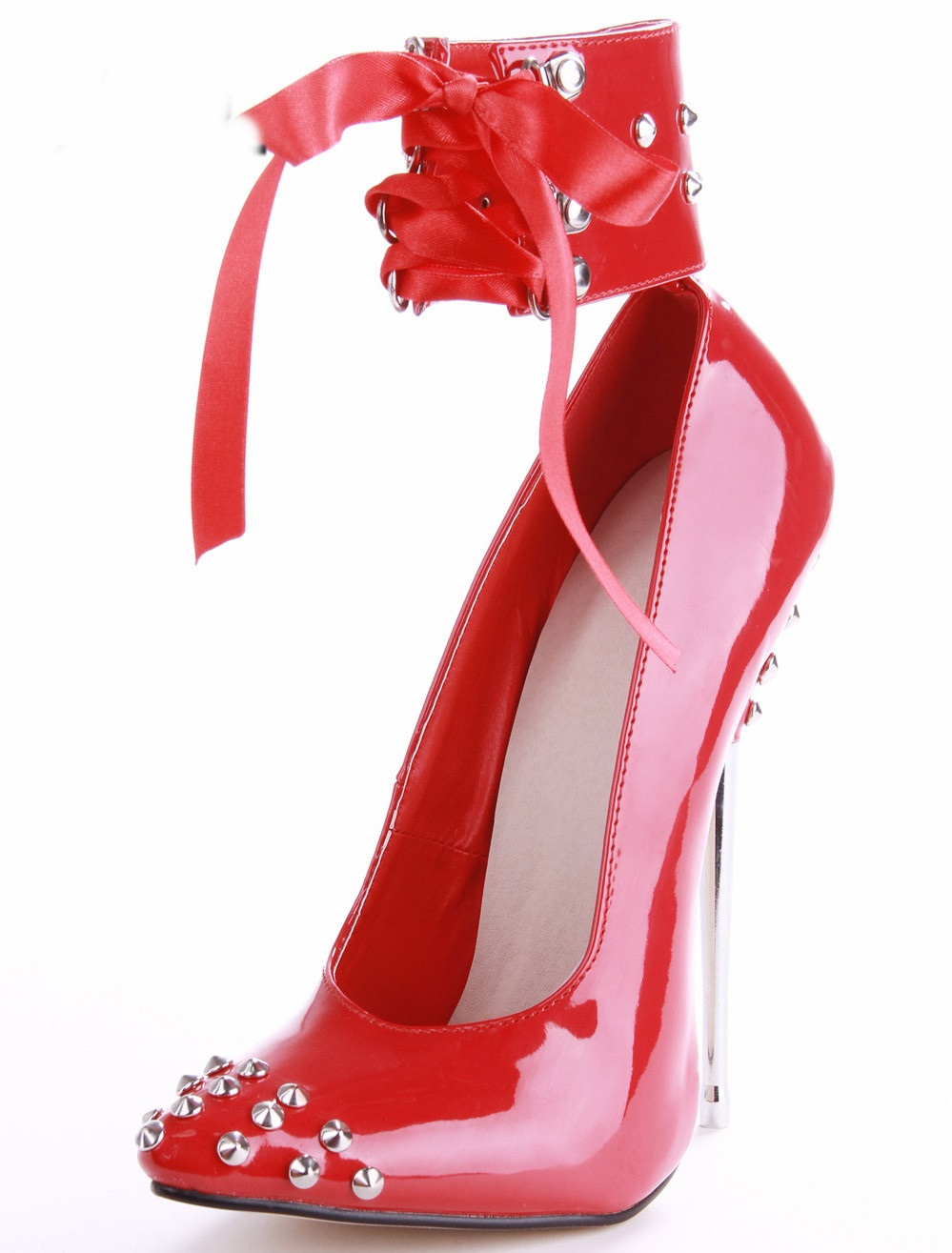 16cm Crystal Metal High Heels Pointed Toe Weeding Party Women Pumps Shoes Luxury Lace-up Beat Quality Ankle Sexy Black/Red/pur 2017pink pointed toe flock velvet women ankle wrap high heels party dress lady designer pumps shoes lace up stiletto shoes woman