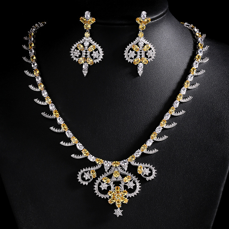 Fashion Wedding Jewelry Crystal Necklace Earrings Set Charm Gold Color Bridal Jewelry Set S050 iqboard ps s050