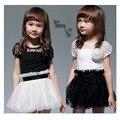 Бесплатная доставка летом С Коротким рукавом Одежды 2-6 Т детские платья Черный белый шить 2 цвета Платья девушки