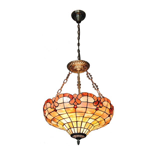 3 Lights European Style Stained Glass Inverted Pendant Lamp Tiffany Shade Metal Base Kitchen Bedroom