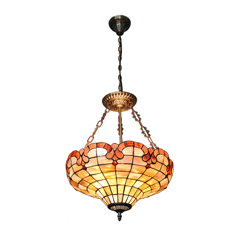 3 Lights European Style Stained Glass Inverted Pendant Lamp Tiffany Style Shade Metal Base Kitchen Bedroom Suspension Light P743