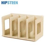 HIPSTEEN Creative Wooden DIY Desktop Book CD Storage Sorting Bookends Office Carrying Shelves