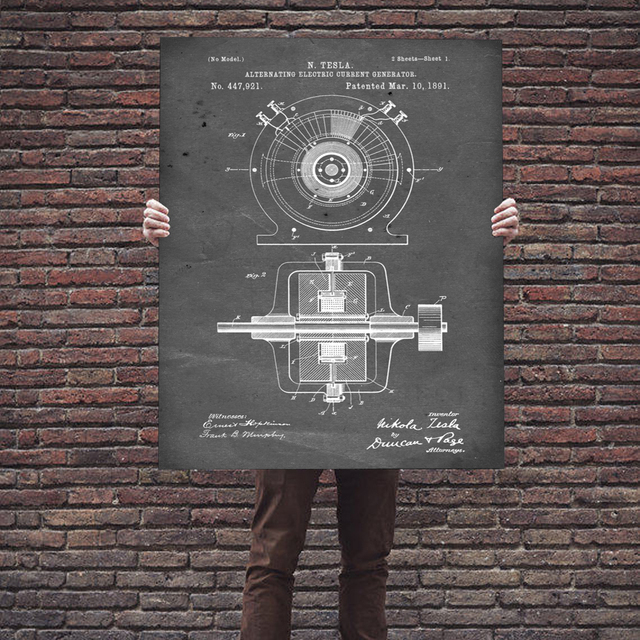 Electric light Toilet Paper Patent Wall Art  1