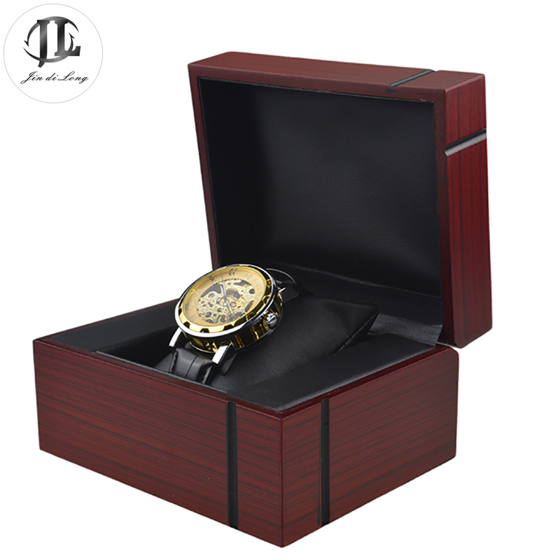 Antique Luxury 1 Grid Solid Wood Watch Storage Cases Best Wristwatch Gift Pack Box Watches Showing Display Boxes fashion luxury wood watch box top yellow durable watch storage case original brand watch display boxes jewelry gift box w058