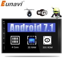 Eunavi 2 Din 7 »Android 6,0 7,1 2din Новый универсальный автомобильный Радио двойной дин стерео gps навигация в тире pc Видео 2 г Оперативная память WI-FI USB