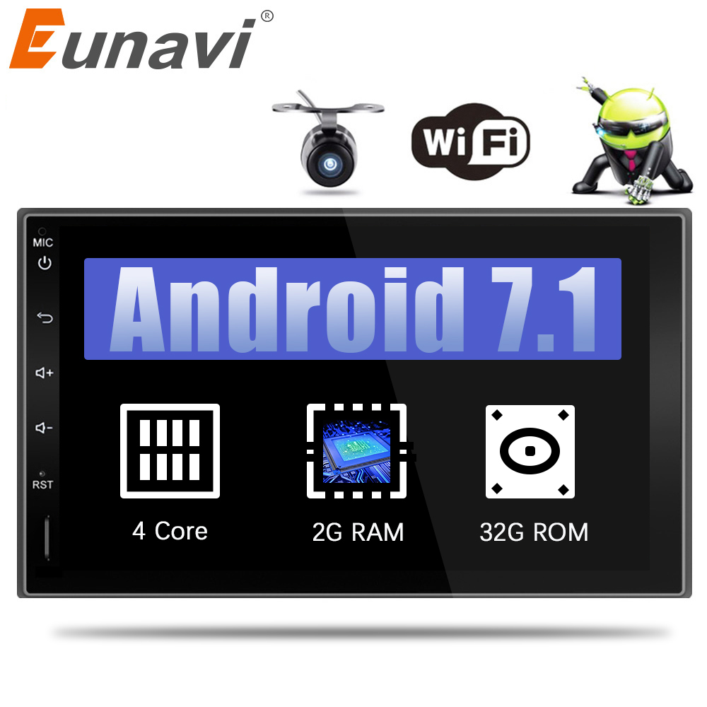 Eunavi 2 Din 7'' Android 7.1 2din New Universal Car Radio Double din Stereo GPS Navigation In Dash Pc Video 2G RAM WIFI USB