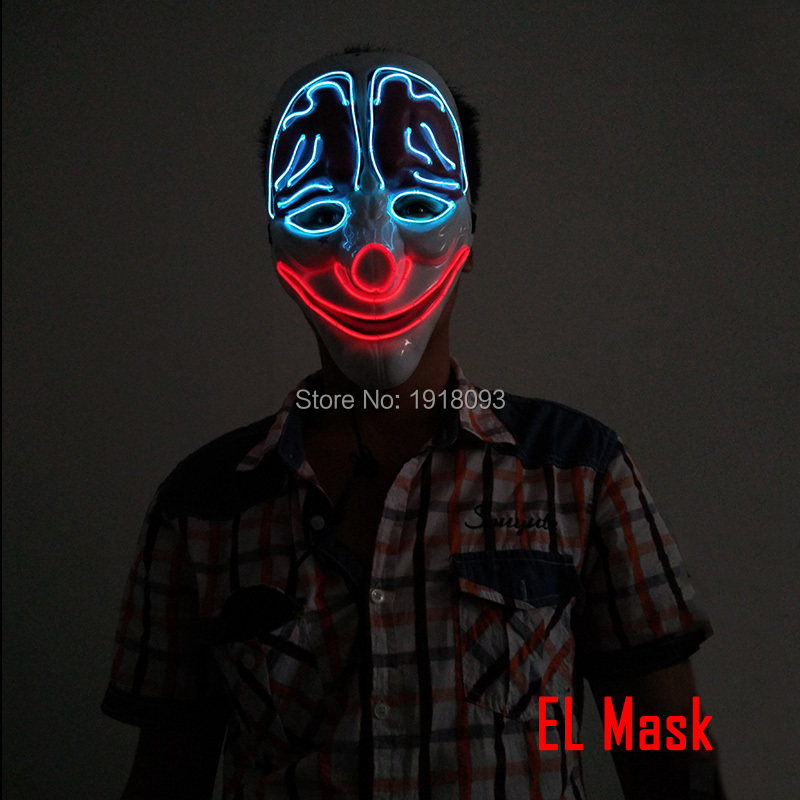 New type Halloween Mask Clown Mask Sound Activated LED Strip EL wire Glowing Neon light Mask For Carnival Crazy Discos Party