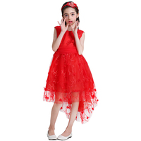 2018 Red Girls Party Dresses Long Tailing Tulle Girl Tutu Dresses Wedding Christmas Party Dress Kids