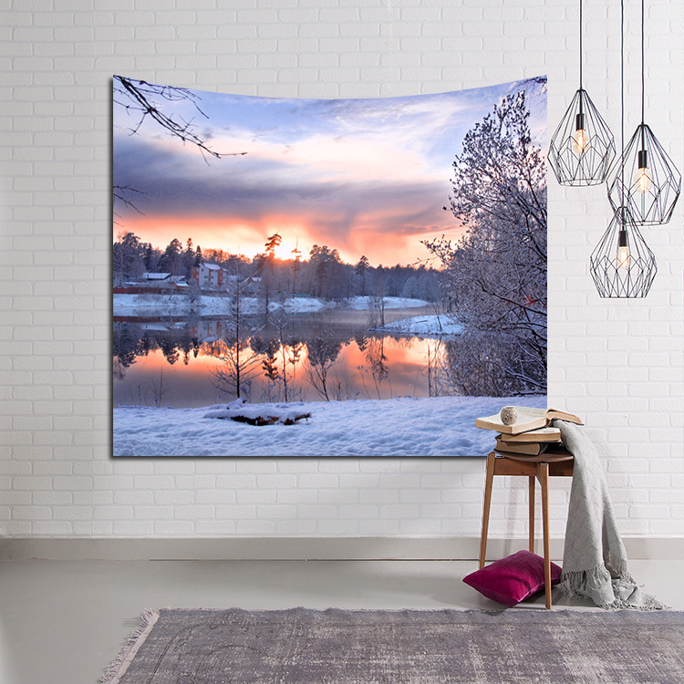 CAMMITEVER Amazing Graceful Starry Sky Beautiful Sight Printed Wall Hanging Sunset Natural Scenery Tapestry Living Room Decor