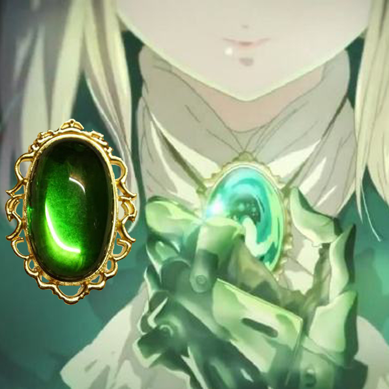Anime Violet Evergarden Cospaly Props Necklace Pendant Green Diamond Jade Accessories Jewelry