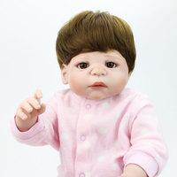 22 Inch 55cm Full Silicone Reborn Baby Dolls Handmade Adorable Toddler Real Doll Bebe Realistic Menina Kids Girl Bath Girl Toy