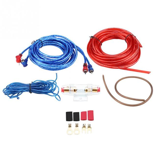 Best Price Universal 8GA 1500W Car Audio Subwoofer Amplifier Speaker Installation Wire Cable RCA Kit W/ Fuse Hodler