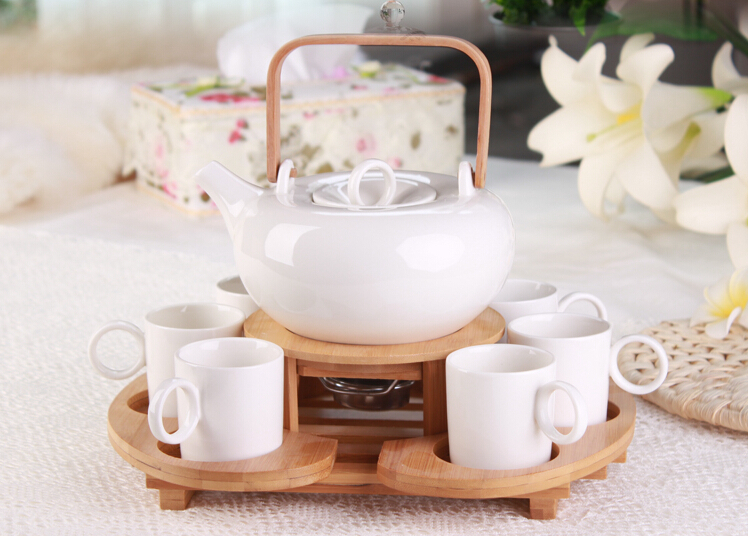1x 9in1 Coffee Tea Set-700ml Heat-Resisting Ceramic Flower Teapot+Stainless Steel Tea Pot Warmer +6 Ceramic Cups +Bamboo Tray