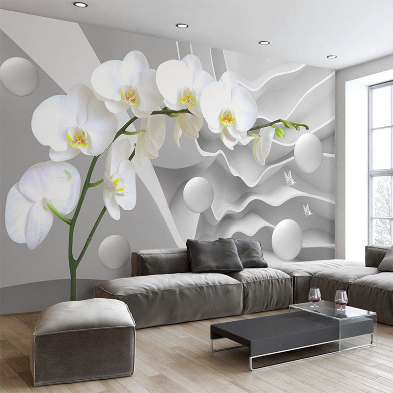 Spatial Extension Personality 3D Wallpaper Stereo Relief Butterfly Orchid Ball Mural Living Room Restaurant Modern Simple Decor