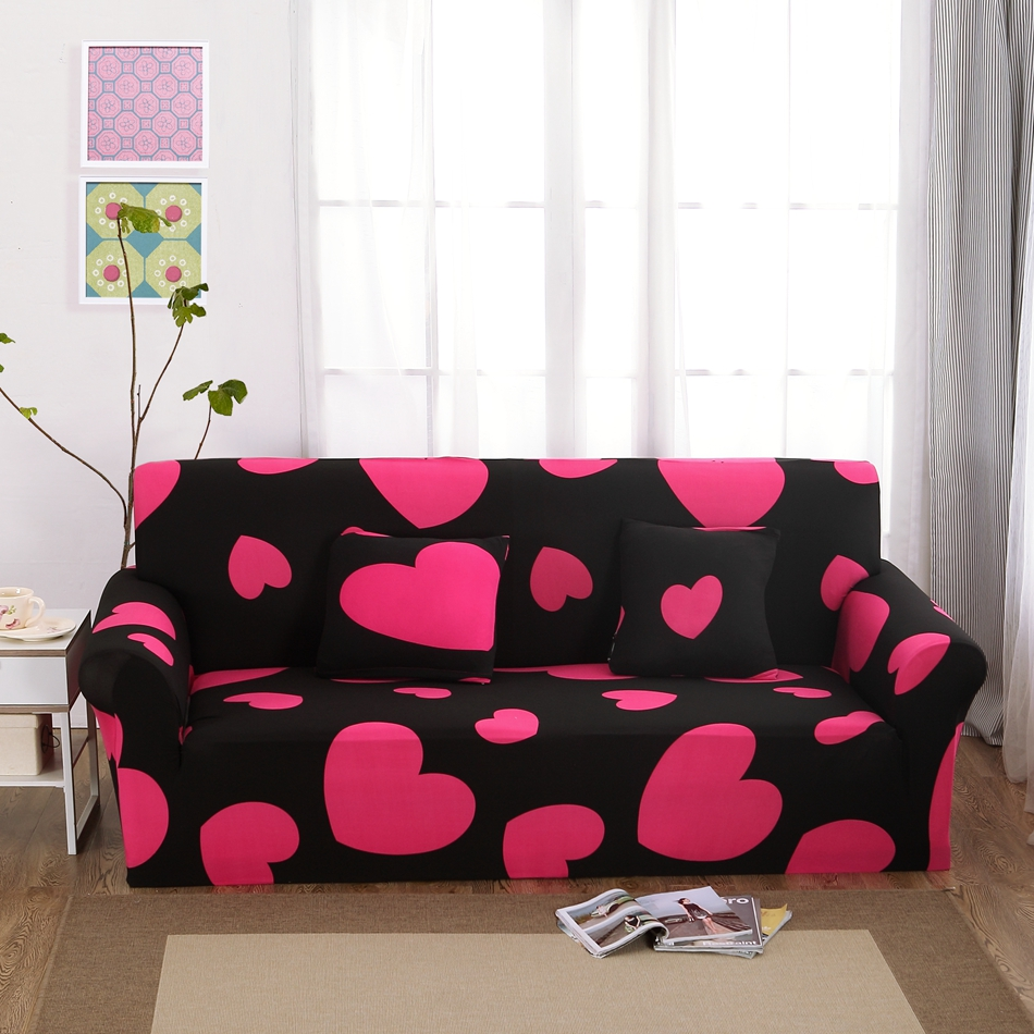 Heart Pattern Couch Sofa Covers Polyester Black Elastic Corner Sofa ...