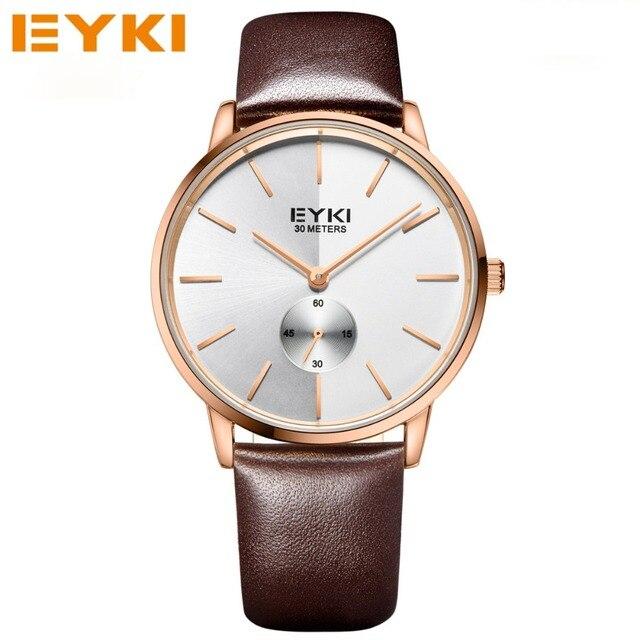 2017 nueva marca de moda de cuero reloj de cuarzo mujeres de los hombres de eyki relojes de pulsera hombre reloj relogio montre orologio relojes del amante