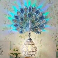 Современная роскошь Юго Восточной Азии красочные K9 кристалл металлическая Птичье гнездо абажур Смола Павлин светодиодный настенный свети