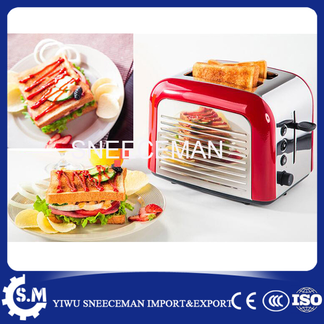 2 pcs bread baking machine stainless automatic steel toaster Home Automatic multi-oven breakfast machine cukyi toaster italian technology breakfast machine household automatic single double sides baking stainless steel liner retro