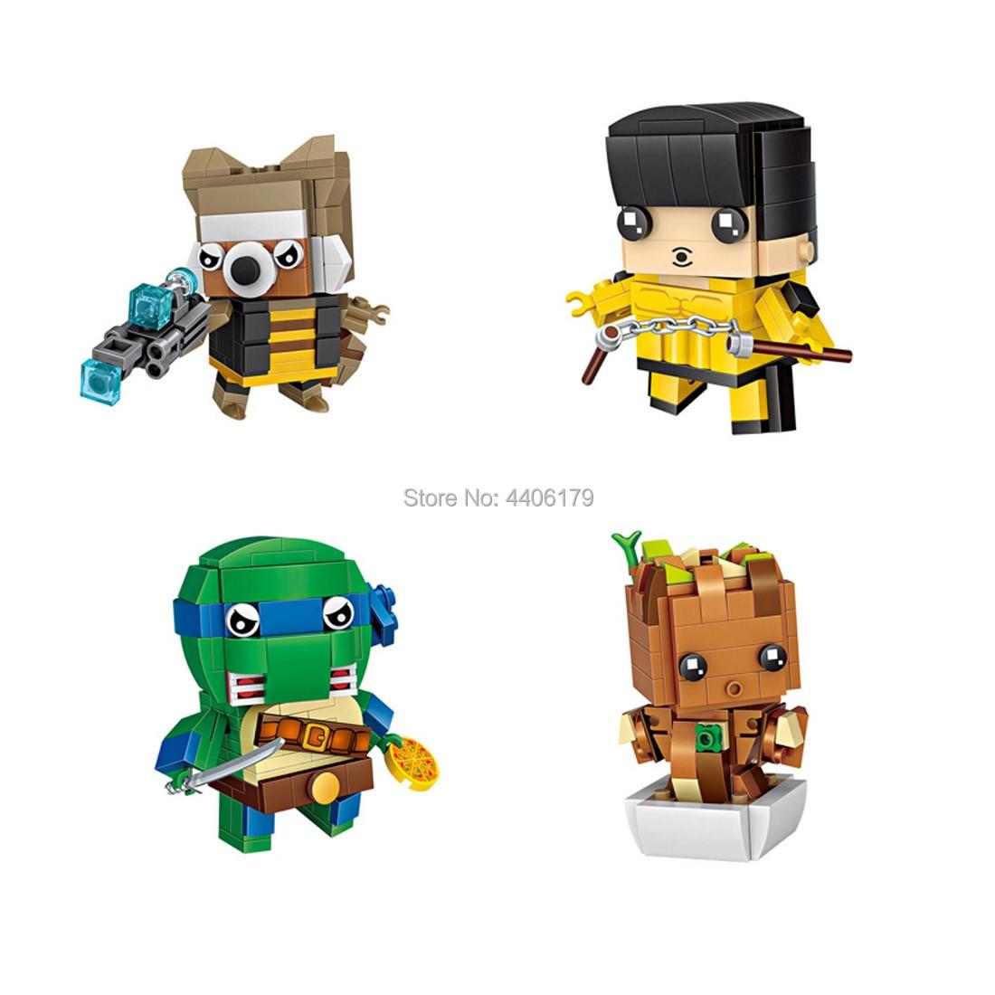 hot LegoINGlys creators Marvel Super hero mini Rocket raccoon Ninja Turtle Micro Diamond Building Block figures bricks toys gift