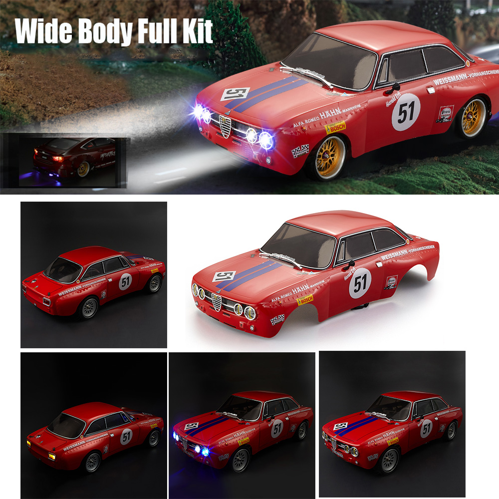 RC Car Body Shell 48251 257mm for Alfa Romeo 2000 GTAm Finished Body Red Frame 1