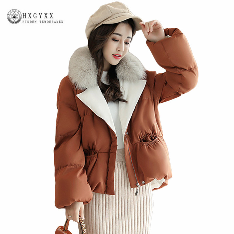 Fox Fur Turn Down Collar Short Winter Coat Plus Size Woman New Loose Warm Padded Jacket Oversize Down Cotton Outerwear Okb396 2015 new hot winter thicken warm woman down jacket coat parkas outerwear hooded loose straight luxury brand long plus size xl