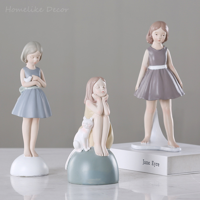 1pc Modern Cute Girl Craft Resin Little Girl Miniature Home Decorative Statue Christmas Gift Figurine