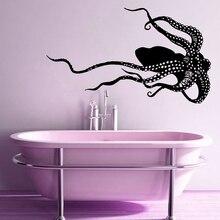 Bathroom Decoration Sea Animals Octopus Room Ornament Vinyl Art Design Poster Mural Marine life Wall Decals W365