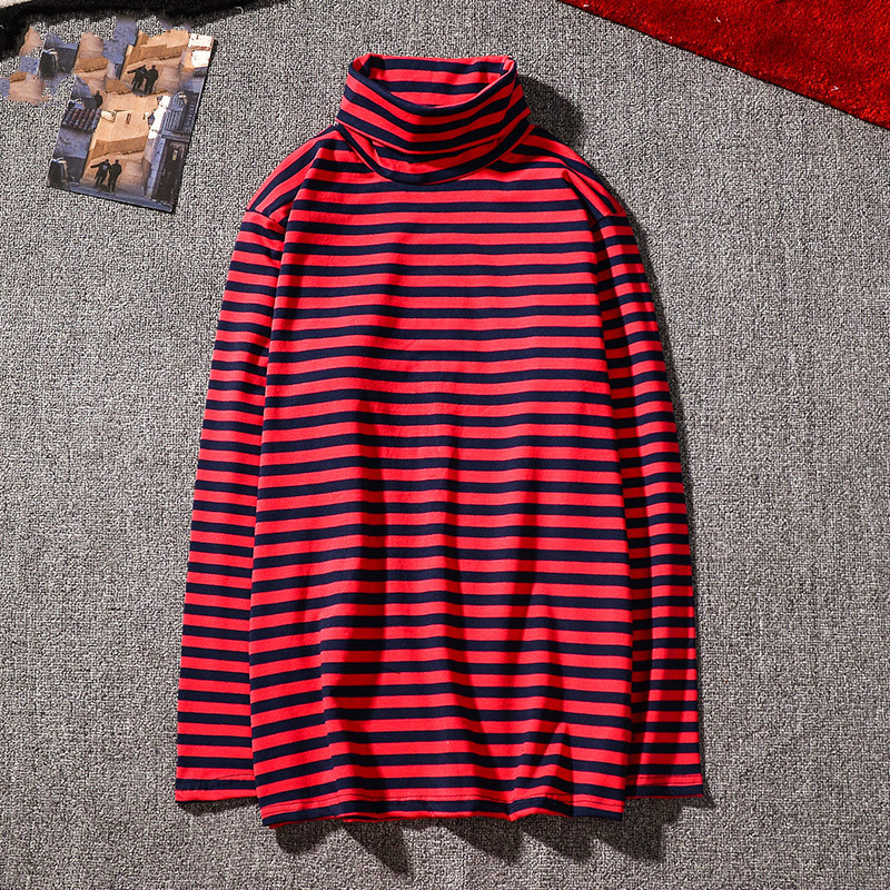 Kpop Korean Harajuku Gd Black White Striped T-shirt Men Women Unisex Loose Oversized Extra Turtleneck Long Sleeve Couple T Shirt
