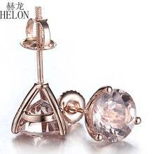 Женские круглые сережки гвоздики HELON, 2,5 карат, 10 к, розовое золото, изысканные ювелирные украшения для помолвки