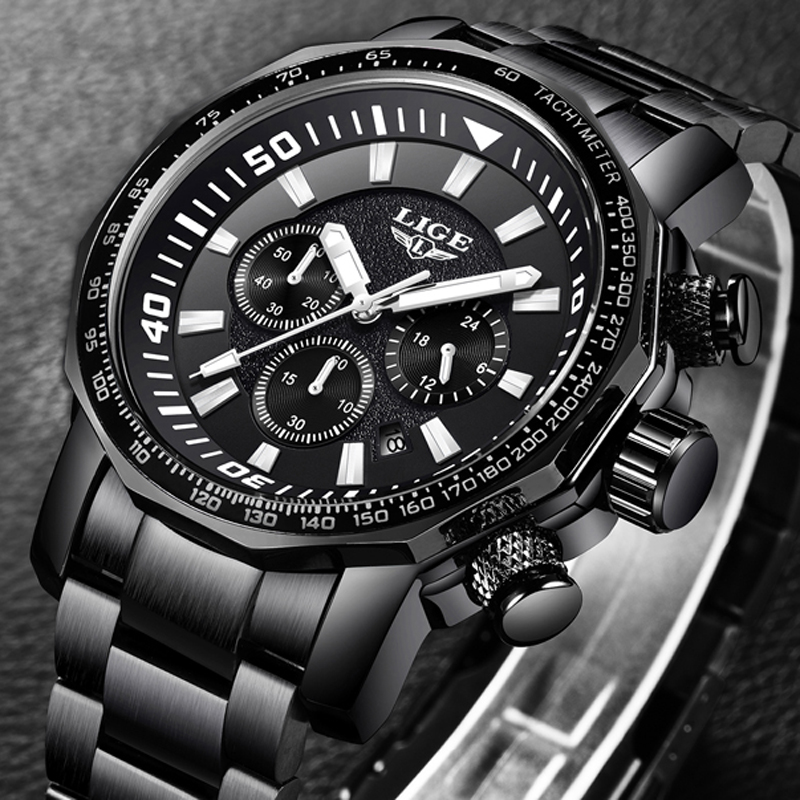 Men Watch Top Luxury Brand LIGE Men's Waterproof Sport Quartz Watches Business Big Dial Fashion Casual Dress black Male Clock epozz brand new quartz watch for men big dial waterproof stainless steel watches classic casual top fashion luxury clock 1602