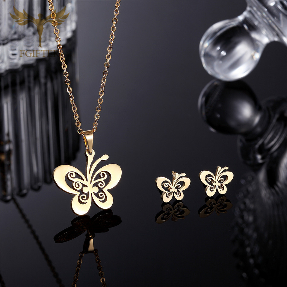 Fgifter Gold Butterfly Stud Earrings Necklace Jewelry Sets For Girls Children Stainless Steel Jewelry Kids Gifts Wholesale #2