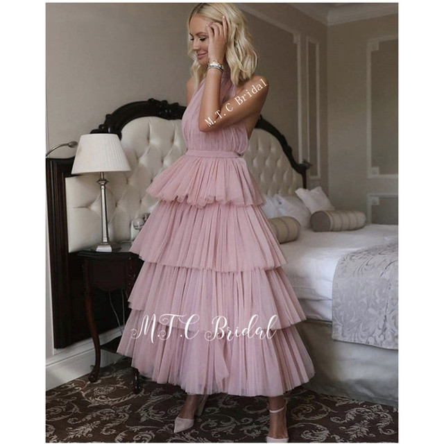 Blush Tiered Tulle Short Prom Dresses New 2019 Backless Halter A Line Ankle Length Cheap Evening Party Gowns Robe De Soiree