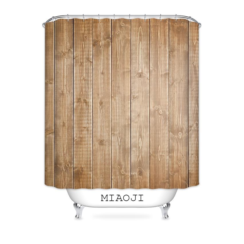 [MIAOJI] Shower Curtain Waterproof Polyester Fabric Faux wood Grain Bathroom Bath Screens Curtains Various Sizes Free Shipping