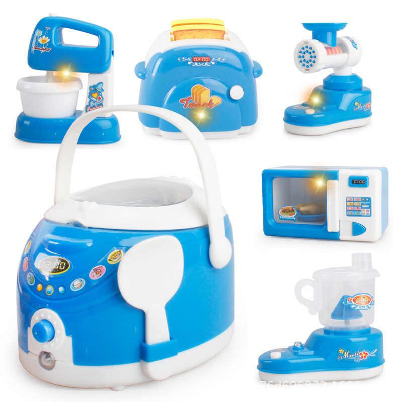 Çocuk hediyeler mavi elektrikli ev aletleri tost makinesi vakum temizleyici ocak playhouse eğitici mutfak oyuncaklar oyna Pretend