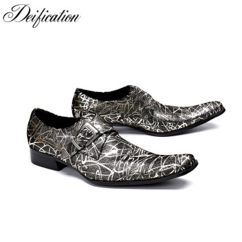 Deification Italian Brand Mens Dress Shoes Fashion Color Printed Loafers Square Toe Business Formal Party Wedding Shoes Size 12