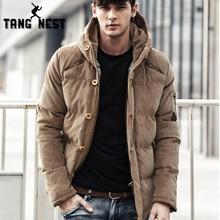 TANGNEST hombres Parka de invierno 2018 hombres chaqueta de abrigo de pana Color sólido con capucha Abrigo acolchado chaqueta hombres capa gruesa MWM1885