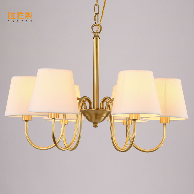 Veayas Copper Lamp Chandelier Light Living Room Chandelier Lighting Luxury Copper Lamp Modern lampadari Chandelier ceiling