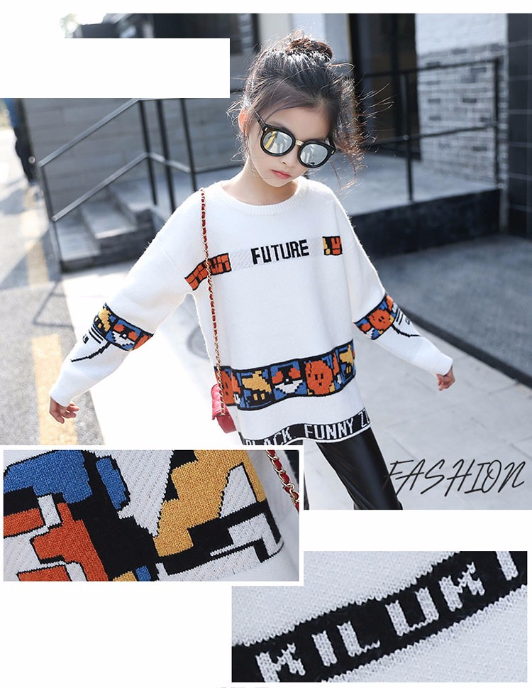 loose knitted sweater girls winter autumn spring 2017 new white character knitting teenage little girls sweaters and pullovers 6 7 8 9 10 11 12 13 14 15 16 years old little teenage big girl sweaters for kids (2)