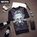 3d camisetas de Los Hombres Hot Fix Rhinestone Cráneo Tigre Cruz Madonna Impresión Erkek Yeezus Camiseta de Poliéster O-cuello de Ropa Pareja