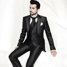 2017 New Groom men Tuxedos Men's Suit Black notch lapel custom made Groomsman/Bridegroom mens suits (jacket+pants+vest+tie)