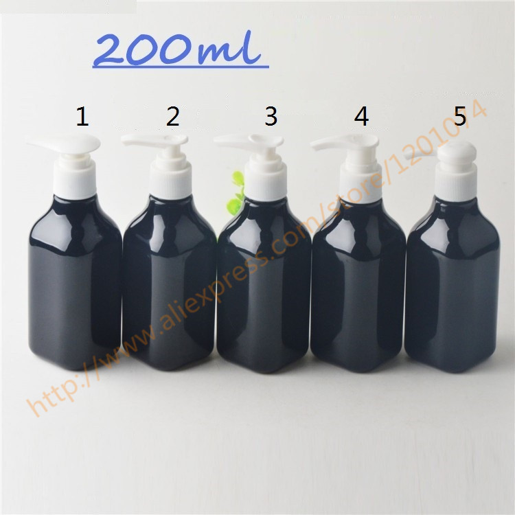 200ml shiny black PET bottle with plastic pump for lotion hand wash Shampoo moisturizer facial water