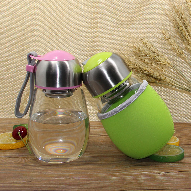 Creative 400ML Glass Water Bottle With Tea Infuser & Rope & Gift Bag Penguin Shape Students Sports Bootle Travel Bottles garrafa ...