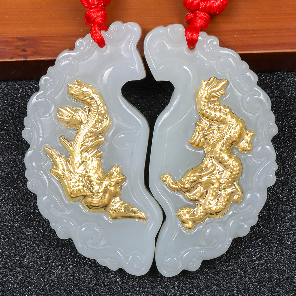 Gold Inlaid Jade Dragon Phoenix Wear Pendant Lettering Men & women Necklace Natural Emerald Hetian jade pendan Fine Jewelry 8690 natural jadeite dragon brand lace jade pendant zodiac dragon transshipment yu pei jade pendant necklace for women and men