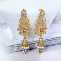 Love Accessories Elegant Earrings Drop For Women 18K Gold Plated Champagne Siam Clear White Zirconia Pearl