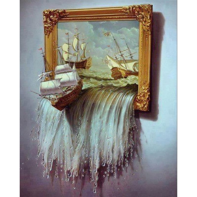 Nuevo 5d vela barcos ondulado vela y foto Marcos cuadro DIY diamante ...