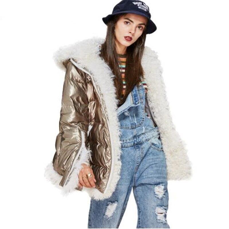 Nouvelle Hiver Haute Couture un design futuriste Énervé argent vers le bas Veste de femmes À La Mode de luxe de fourrure d'agneau à capuche manteau parka