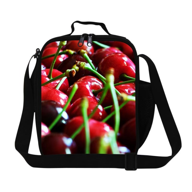 Cute Insulated Lunch Container for Children School Stylish Cherry Printing Lunch Bags for Girls Fruit Lunch Cooler Bag for work