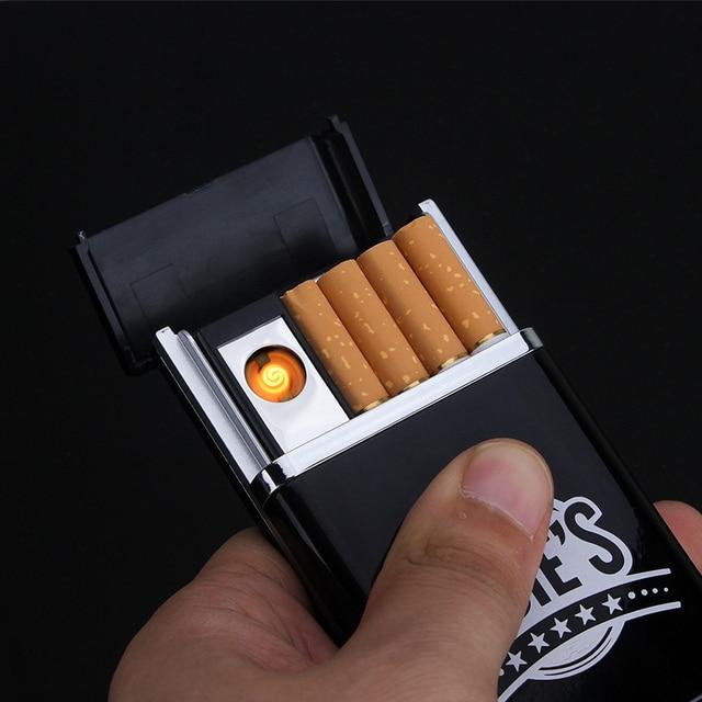 Hot Desain Hitam Kotak Dengan Merokok Ringan 8 pcs Rokok Rokok Kasus Rokok Kreatif USB Pengisian Pemantik Rokok-227