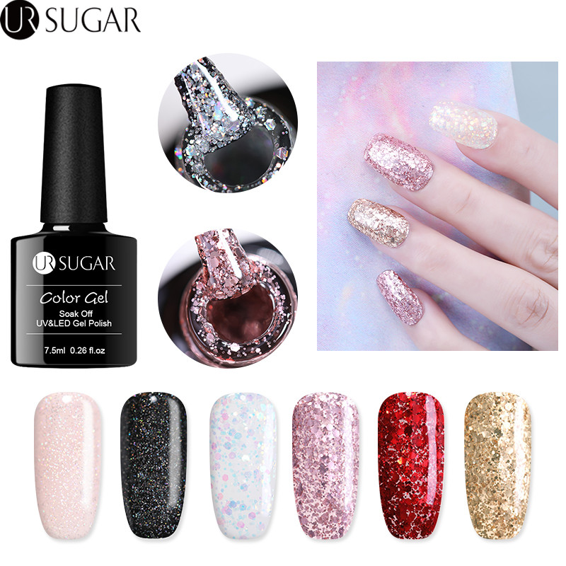 UR SUGAR 7.5 ml Glitter Gel Polish Glanzende Diamond Gel Nagellak - Nagel kunst
