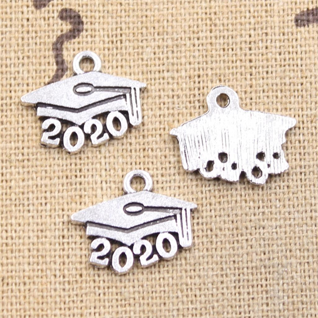 20pcs Charms 2020 2019 Graduation Cap Diploma 14x17mm Antique Silver Plated Pendants Making DIY Handmade Tibetan Silver Jewelry